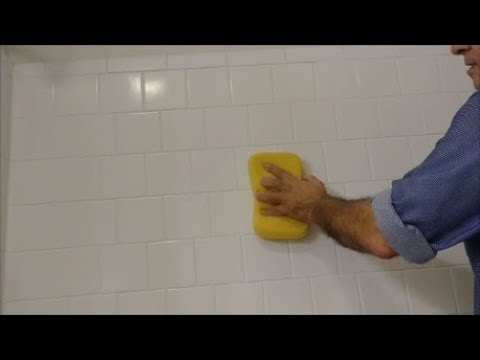 Repair Loose and Missing Grout and Caulk from a shower wall  - Part 3 -  Grout The wall