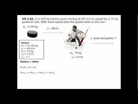 A 0.105 kg hockey puck moving at 48 m/s