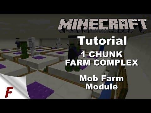 Minecraft 1 Chunk Fully Automatic Farm Complex Tutorial Mob Farm Module