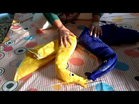 How to make Swan or Hans using saree, Wedding Tray Decoration