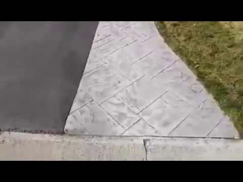 Stamped Concrete Driveway Apron and Retaining Wall