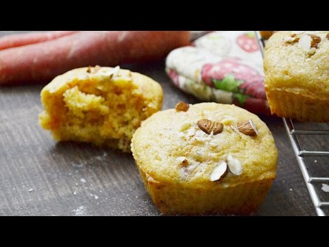 Carrot muffins recipe - how to make eggless wholewheat atta muffins - healthy carrot muffins