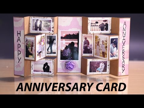 Happy Anniversary Card - Handmade Tri Shutter Card for Anniversary Gift