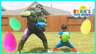 Easter Egg Hunt Surprise Toys Challenge Marvel Superheroes Avengers Captain America vs The Hulk