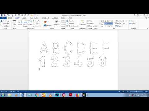 how to make dashed letters and number tracing in microsoft word 2013 by using wordart