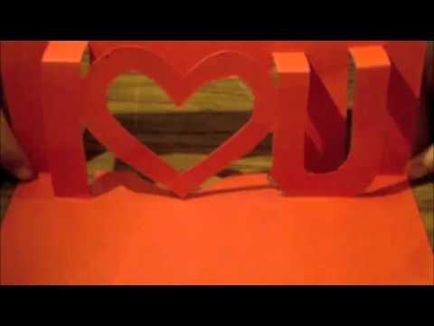 How to make a Kirigami i ❤ u card   Love Letter Handmade gifts for boyfriend Girlfriend