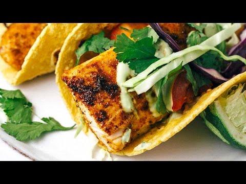 Blackened Mahi Mahi Fish Tacos with Avocado Lime Sauce