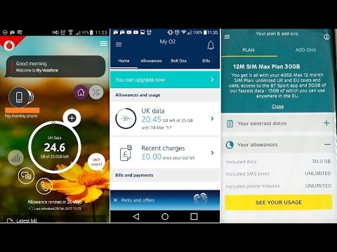 My three SIMO contracts with EE, Vodafone and O2