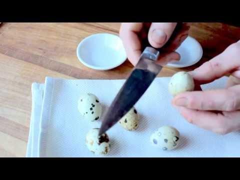 cracking quail eggs