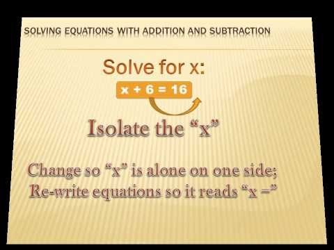 Algebra - Solving Equations with Addition and Subtraction: 6th grade math