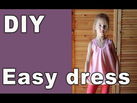 DIY Easy sew no pattern dress. Russian sewing.