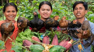 Roast Honey Chicken With Banana Flower and Papaya - Cooking 7 Chickens for Eating & Sharing Foods