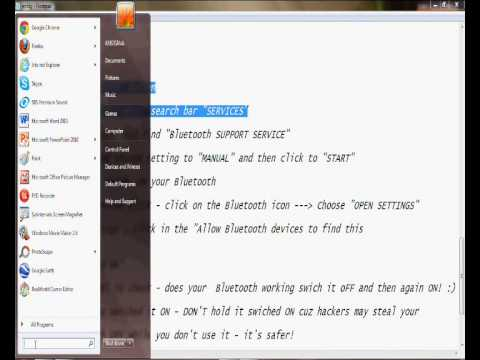 How to fix Bluetooth in windows 7 [ No download required!!! ]