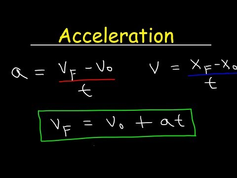 Acceleration Physics, Velocity, One Dimensional Motion, Equations & Formulas, Examples and Problems