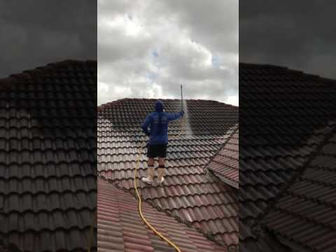 Tile roof soft washing