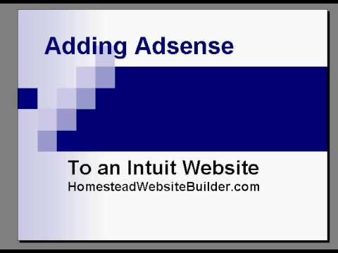 Adsense Intuit Website-Adding Google Ads on Homestead Pages
