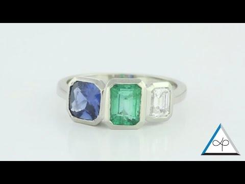 Blue Sapphire, Emerald And Diamond Set In Platinum, Trilogy Ring Power Ring | Prakash Gems