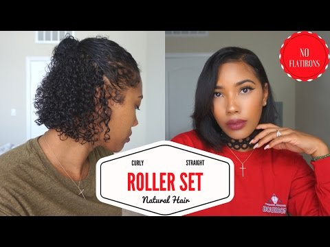 Experiment 2: Curly to Straight On Natural Hair - Roller Set NO FLATIRONS