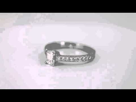 3688 - Emerald Cut Diamond Engagement Ring with Accents