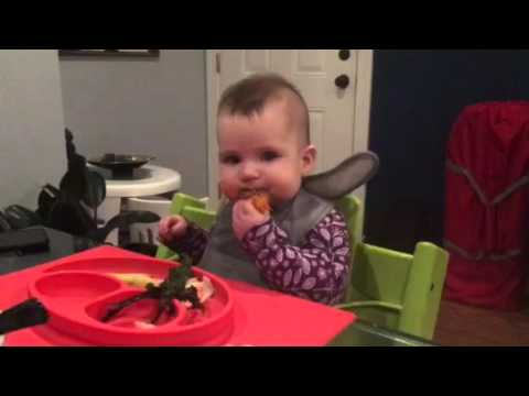 Baby led weaning - mustard green, sweet potato, trout