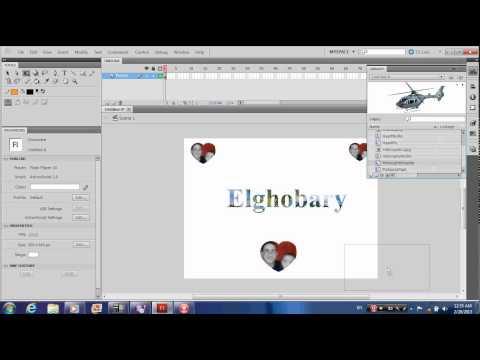 Adobe flash cs5 external library, motion tween, spray brush, publishing, change background