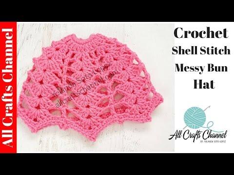 Messy Bun Crochet hat  (Shell stitch)