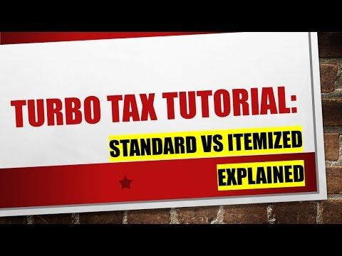 Explaining Turbo Tax:  Standard Deduction vs Itemized