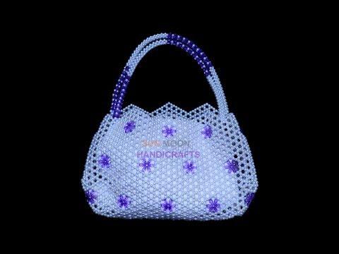পুতির ব্যাগ/How to make beaded Bag (part-1)/32 flower beads Bag.