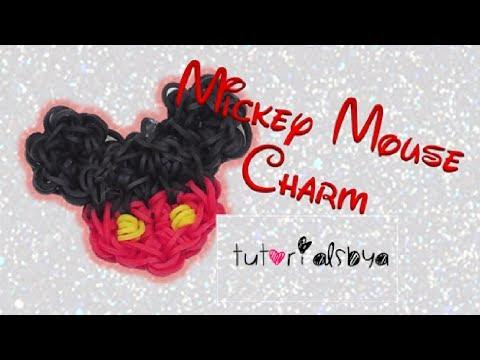 1 LOOM Mickey Mouse Rainbow Loom Charm Tutorial