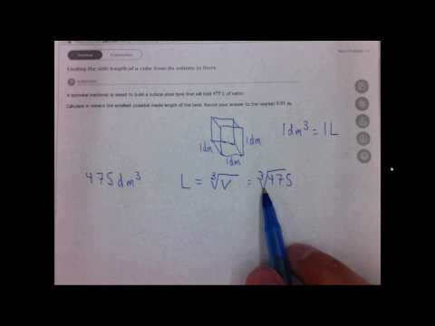 3.1b Finding the side length of a cube from its volume in liters