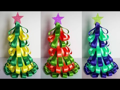 How to make Tabletop Christmas tree with Ribbon | Simple Easy Christmas Decorating Ideas