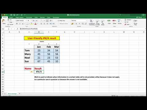 Basic Excel.Use IFERROR to see a text message to help with data input. Useful and easy.