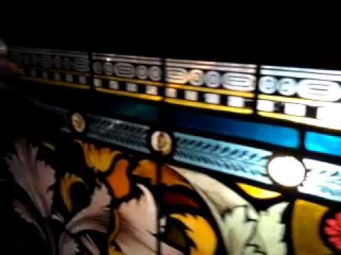 SPECTACULAR 7' LONG HANDPAINTED VICTORIAN PUBLIC HOUSE STAINED GLASS WINDOW PANEL (1