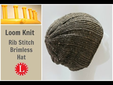 Loom Knit Hat Rib Stitch Slight Slouch Brimless Beanie for Men and Women.