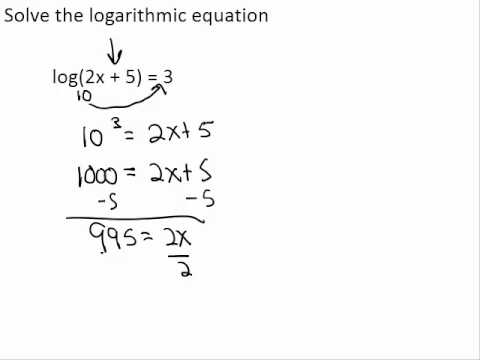 Solve Log Equation with a Log on One Side and a Number on the Other