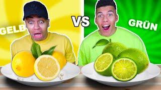 GELBES ESSEN VS GRÜNES ESSEN CHALLENGE !!! | Kelvin und Marvin