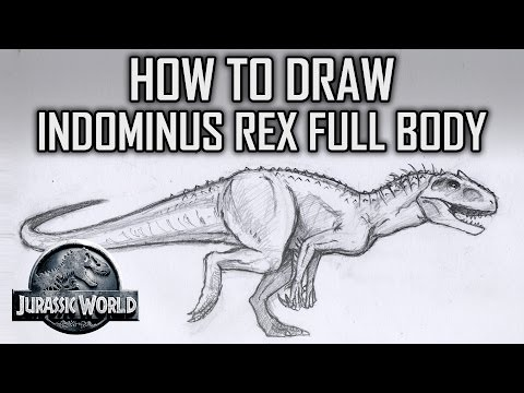 How To Draw Indominus Rex Full Body Jurassic World Tutorial Tuesday Pt1