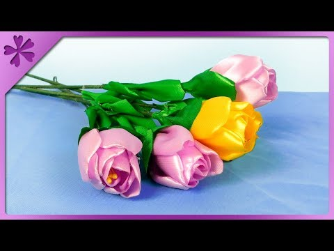 DIY How to make ribbon tulips, spring flowers, for mom (ENG Subtitles) - Speed up #444