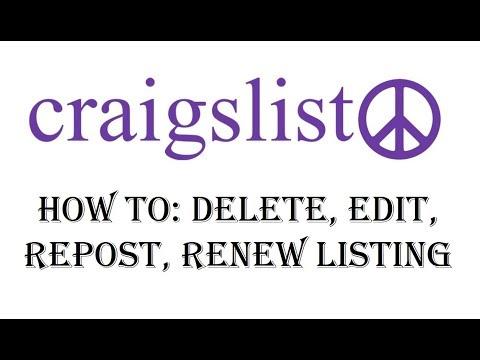 Craigslist How to Delete Post - Edit, Renew, Repost Ad Listing on Craigslist