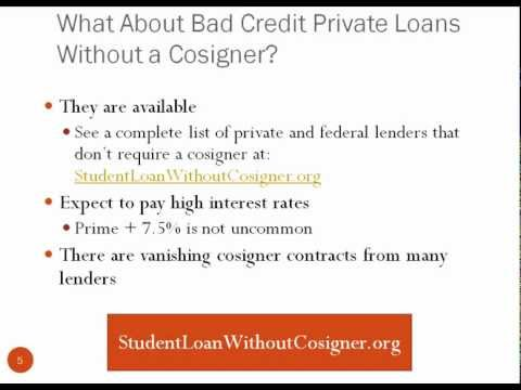 Bad Credit Student Loan Without Cosigner