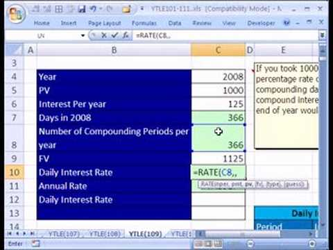 YTLE#109: Daily Interest RATE Schedule in Excel
