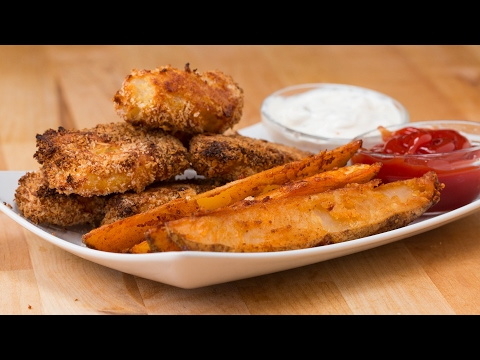 Easy Baked Potato Wedges & Fish Sticks
