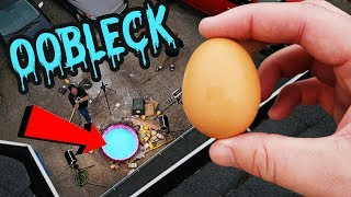 Can Egg Survive 50 FT Drop into Oobleck?! Surprising results... :D