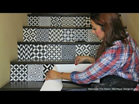 How to Stencil Stair Risers the Easy Way with Moroccan Tile Stencils
