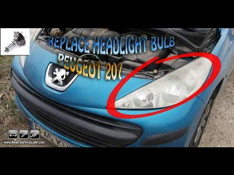 Replace the headlight bulb H7 Peugeot 207 year 2006-2015