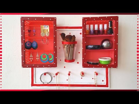 DIY Jewelry Holder / Makeup Organizer | Nail Polish Organizer using Cardboard | Best Out Of Waste!