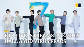 K pop Group BTS Live streams Press Conference In Empty Hall Amid Coronavirus Epidemic