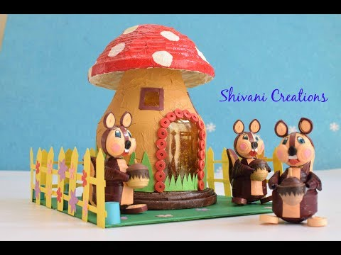 Quilled Squirrels with Mushroom House/ Mushroom House using waste plastic bottle/ Best from Waste