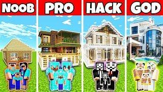Minecraft: FAMILY LUXURY MANSION HOUSE BUILD CHALLENGE - NOOB vs PRO vs HACKER vs GOD in Minecraft