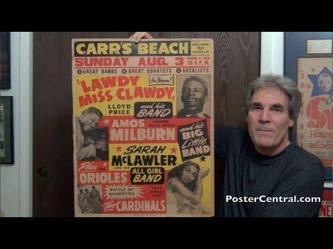 Rare Carr's Beach Window Card 1950s Cardinals, Orioles, Lloyd Price, Amos Milburn